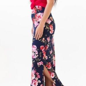 Agnes & Dora Maxi Skirt, XXS Tween, Navy Floral